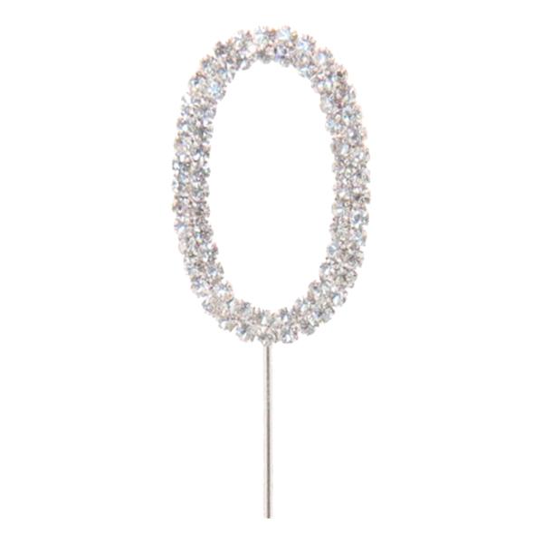 Tårtdekoration Siffra Diamant i Metall - Siffra 0