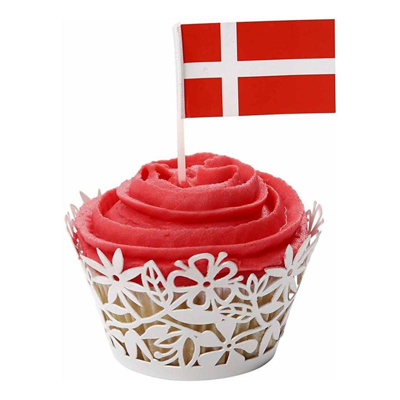 Tårtflaggor Danmark - 100-pack