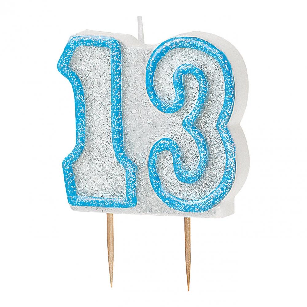 Tårtljus Blå/Vit 13