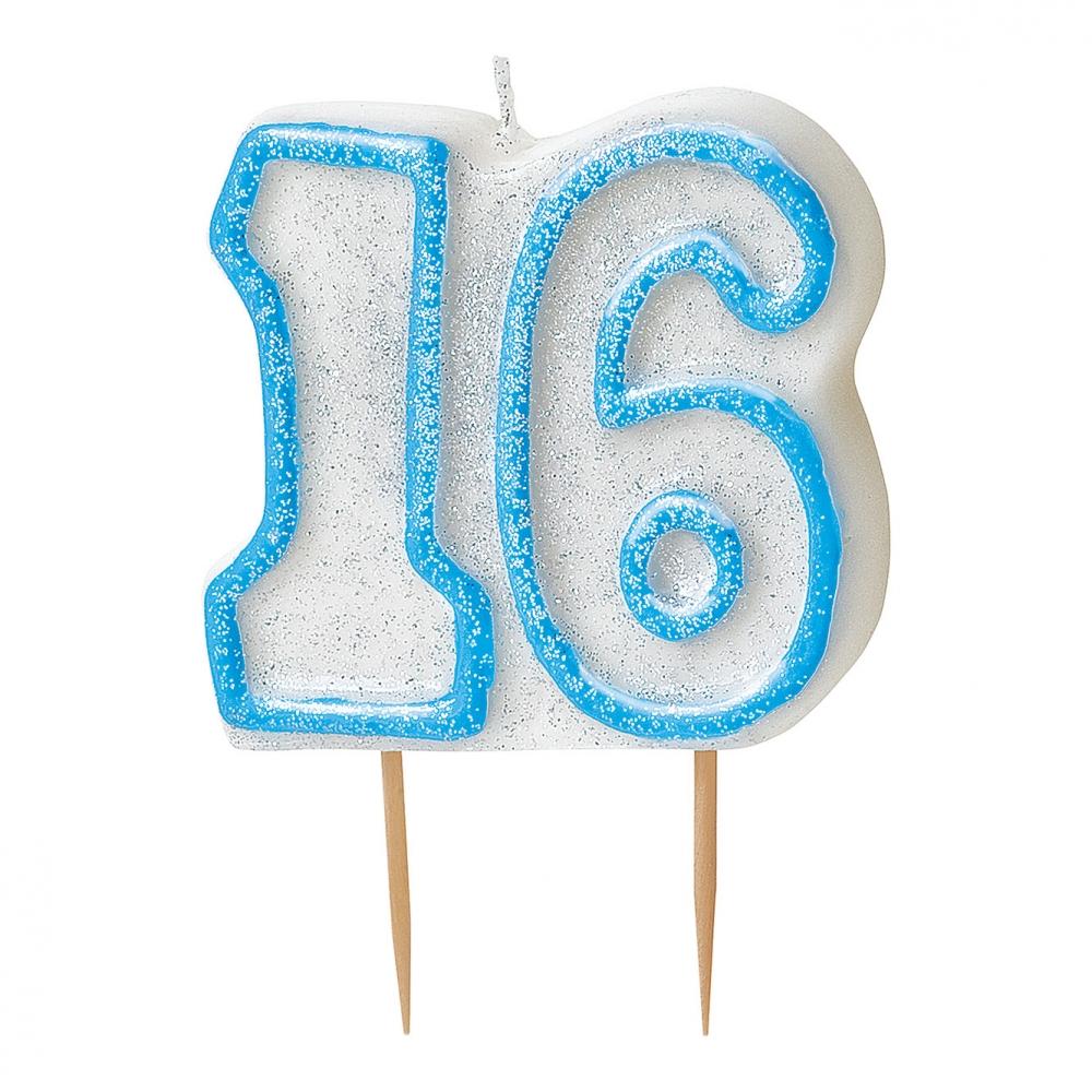 Tårtljus Blå/Vit 16