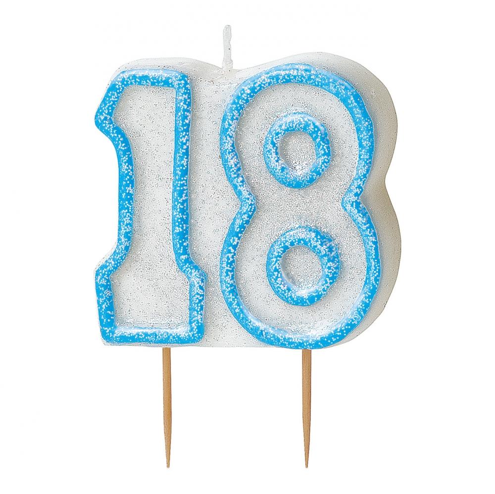 Tårtljus Blå/Vit 18