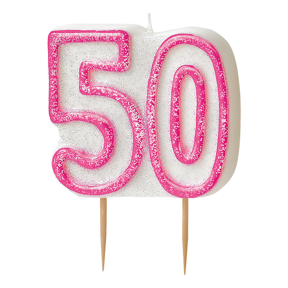 Tårtljus Glitter Rosa 50