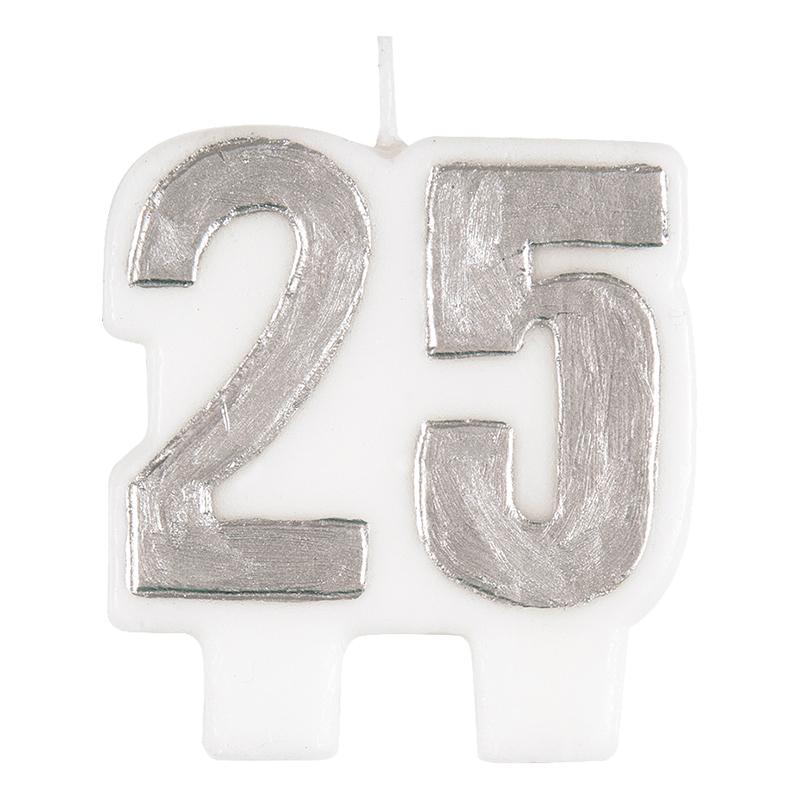 Tårtljus Siffra 25 Silver