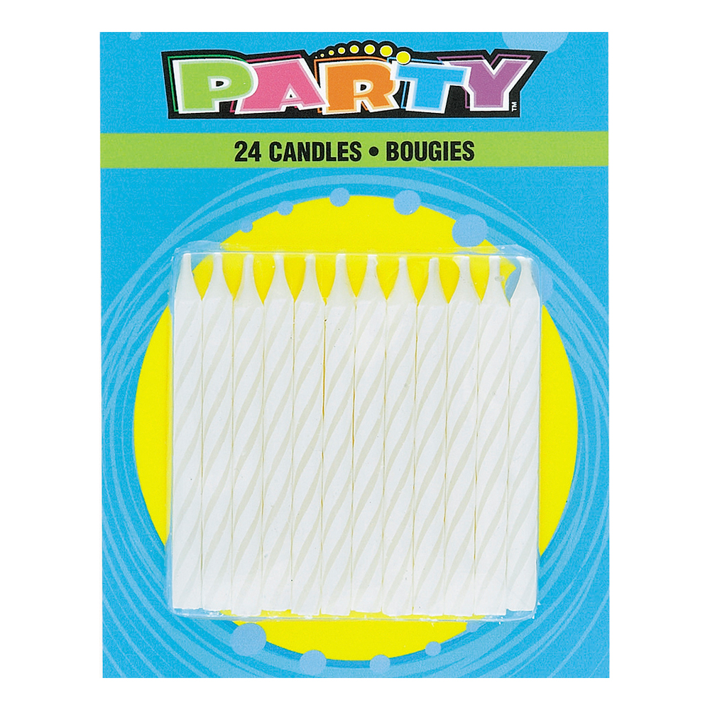 Tårtljus Vita Randiga - 24-pack