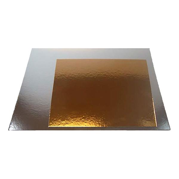 Tårtunderlägg Silver/Guld Kvadratisk - 20 cm