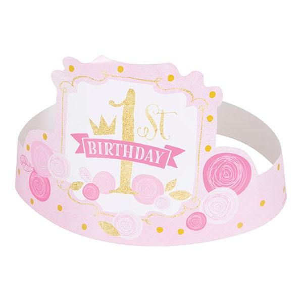 Tiaras i Papp 1st Birthday Rosa - 6-pack