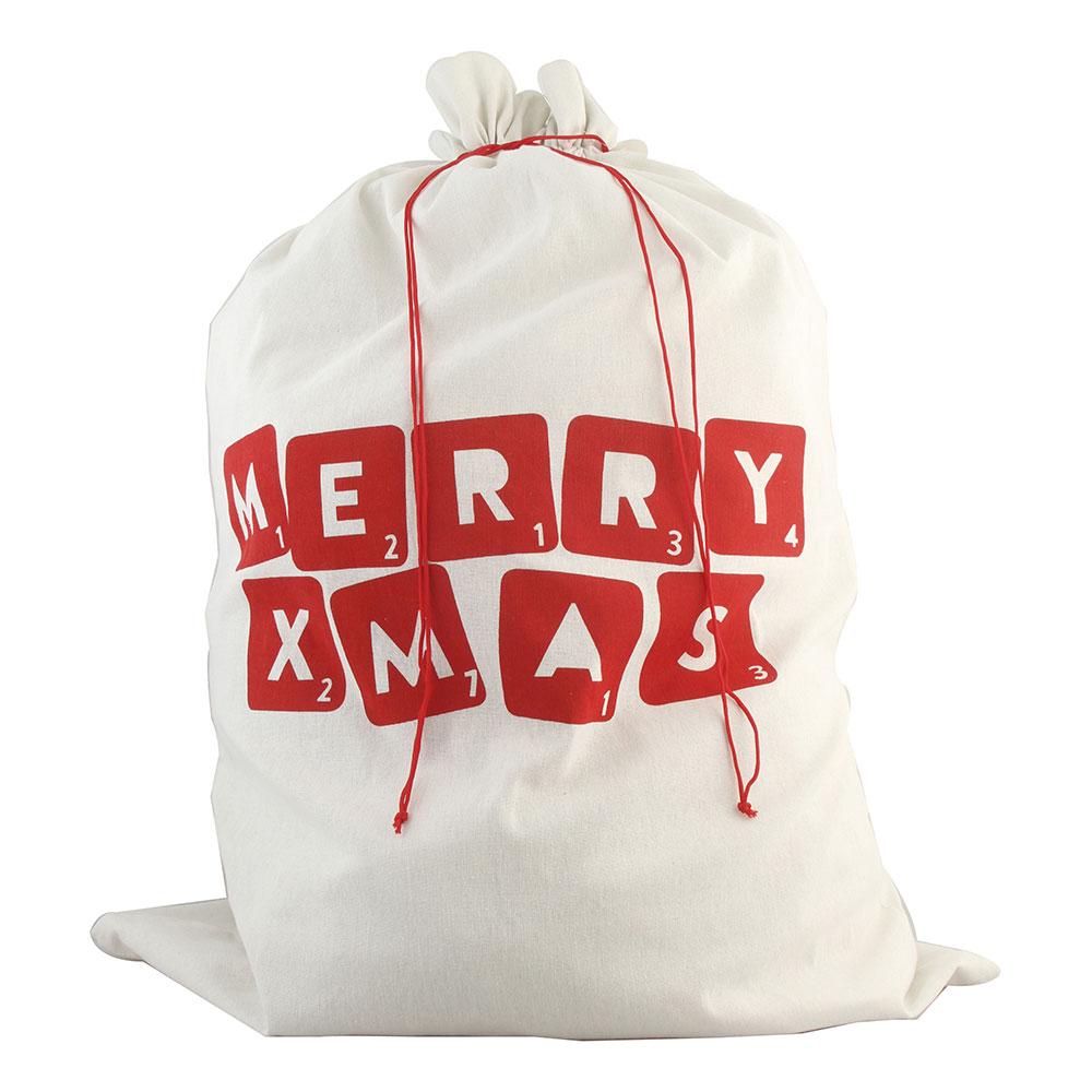 Tomtesäck Merry Christmas Vit