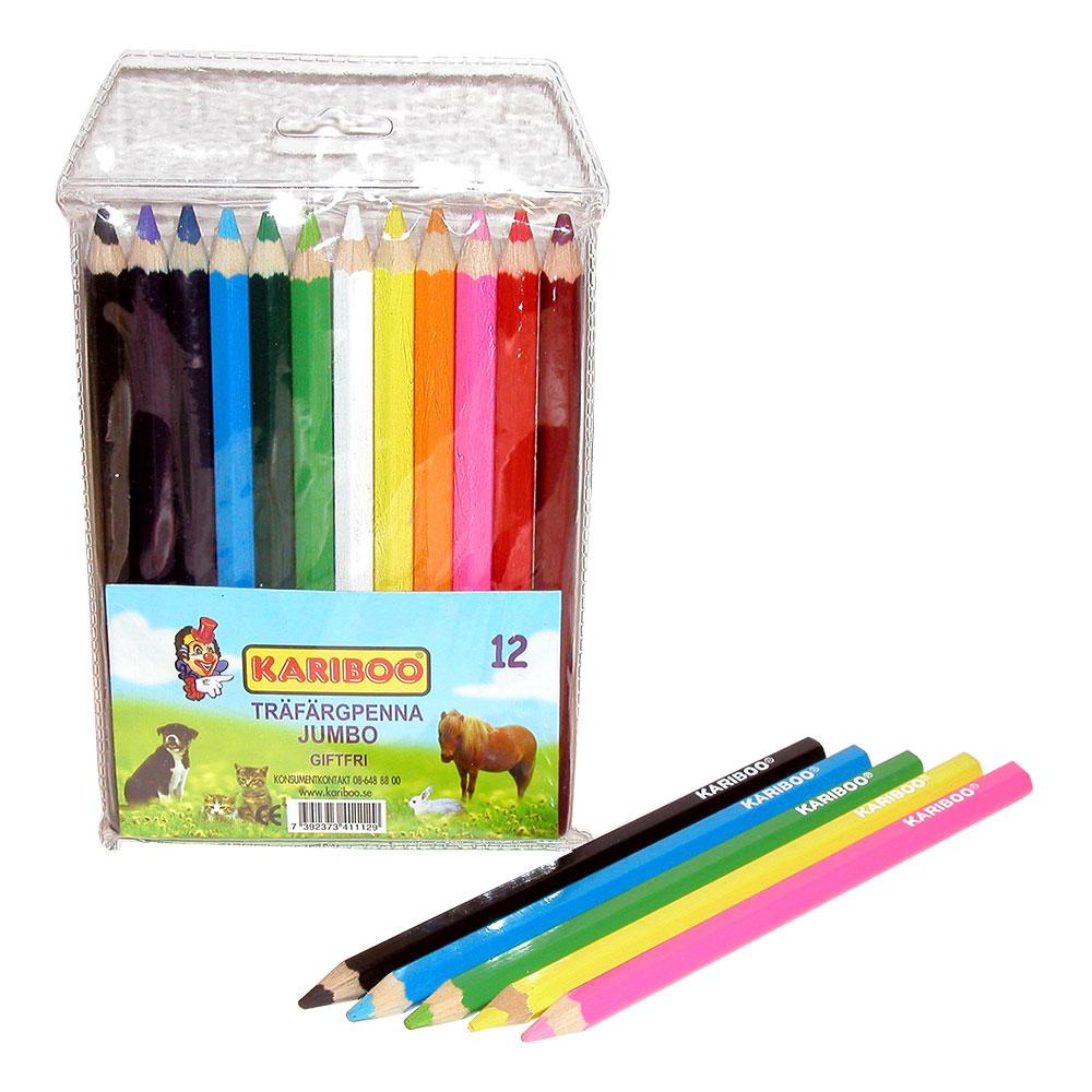 Träfärgpennor Jumbo - 12-pack
