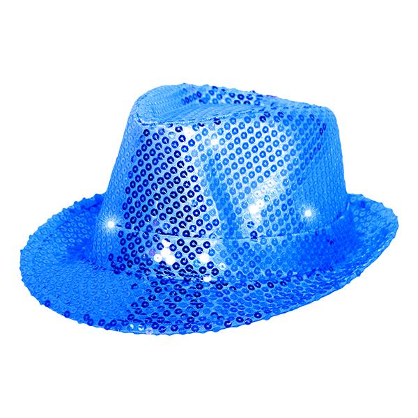 Trilby Paljetthatt LED - Blå
