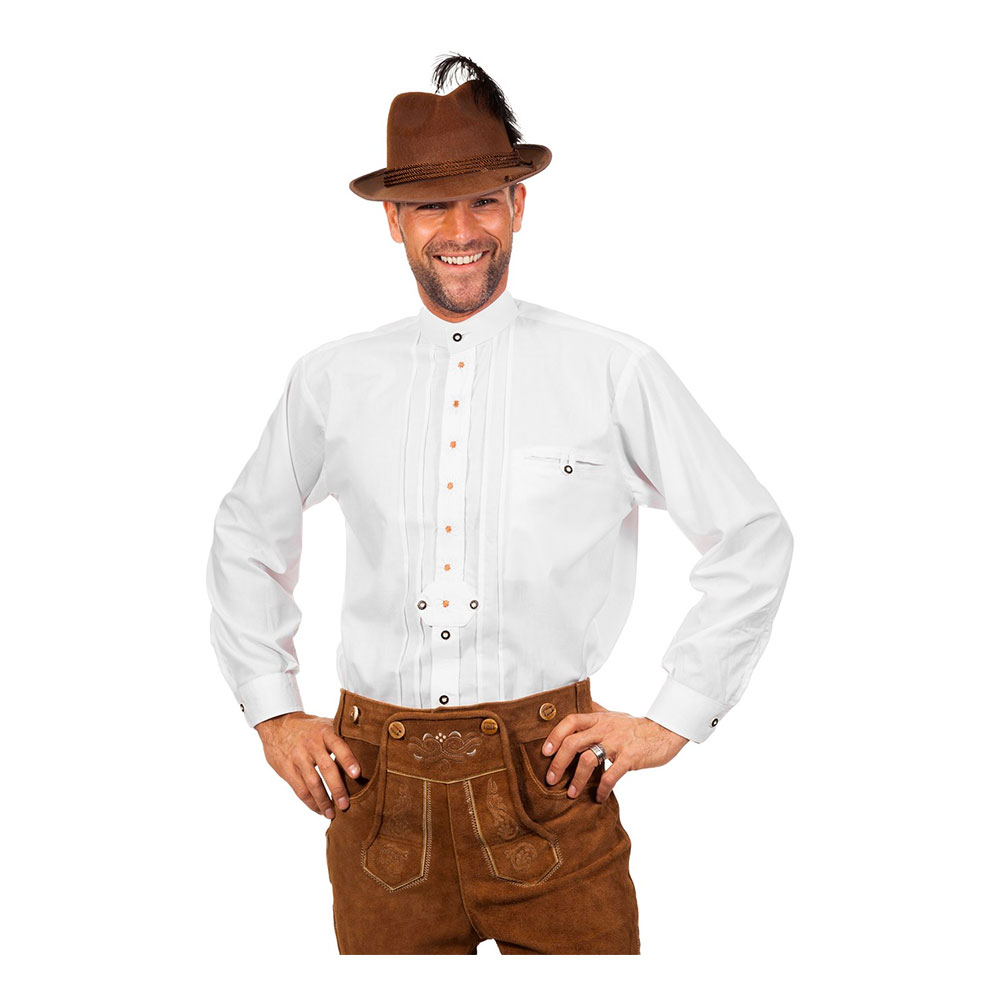 Tyrolerskjorta Deluxe Vit - Medium