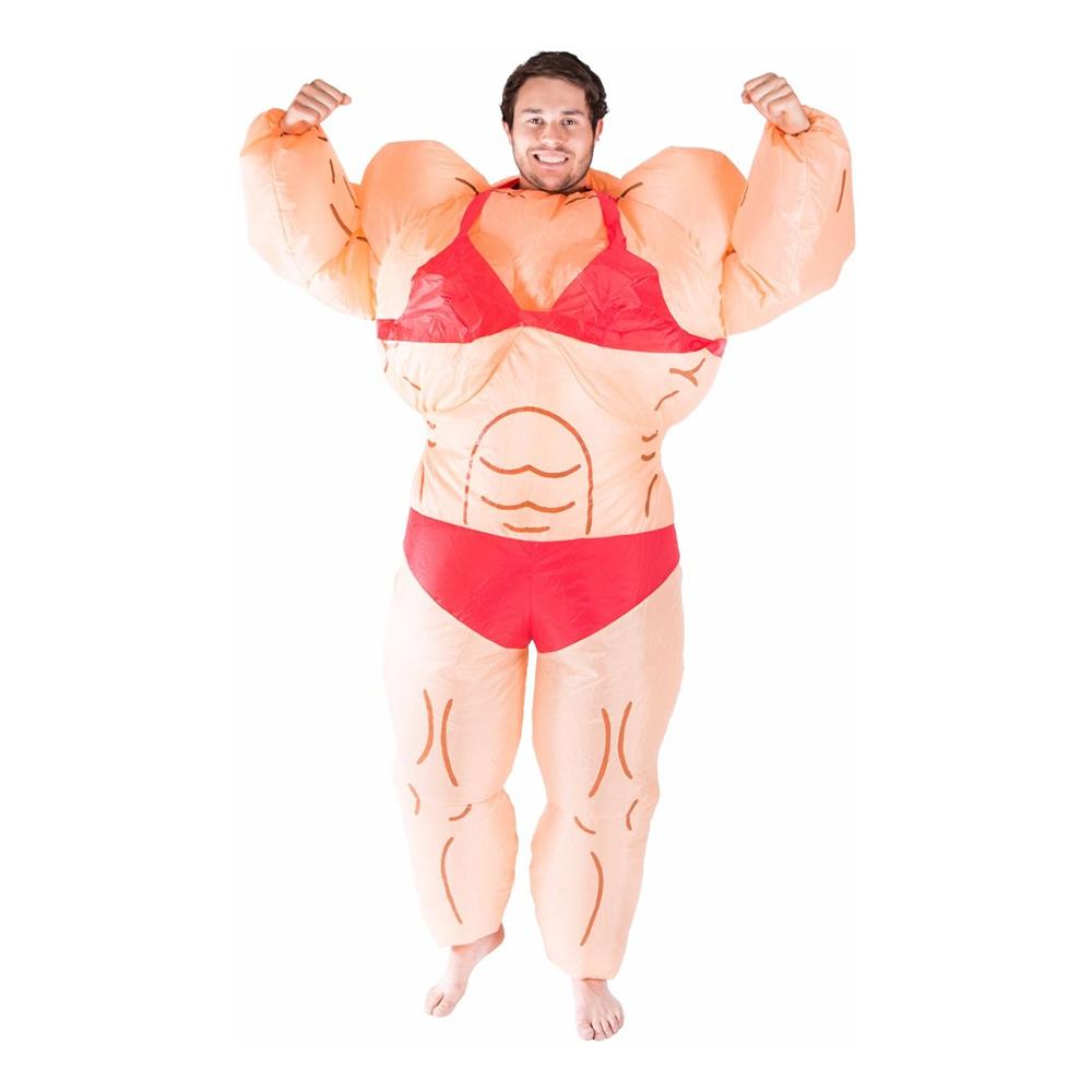 Uppblåsbar Kvinnlig Bodybuilder Maskeraddräkt - One size
