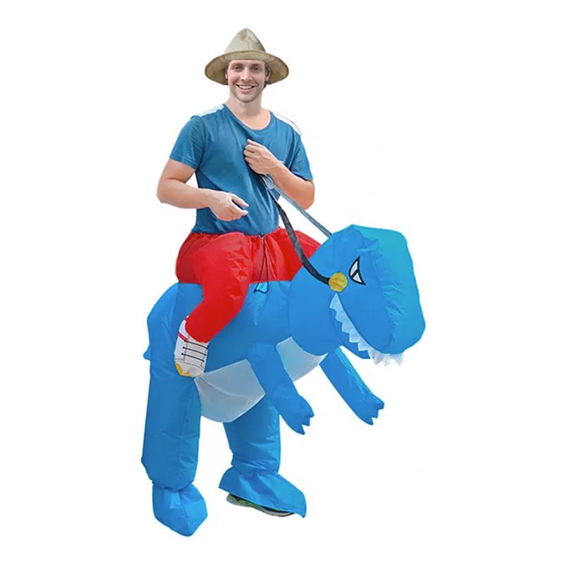 Uppblåsbar Ridande Dinosaurie Blå Maskeraddräkt - One size
