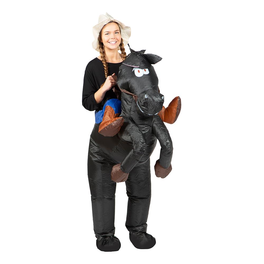 Uppblåsbar Ridande Häst Svart Maskeraddräkt - One size