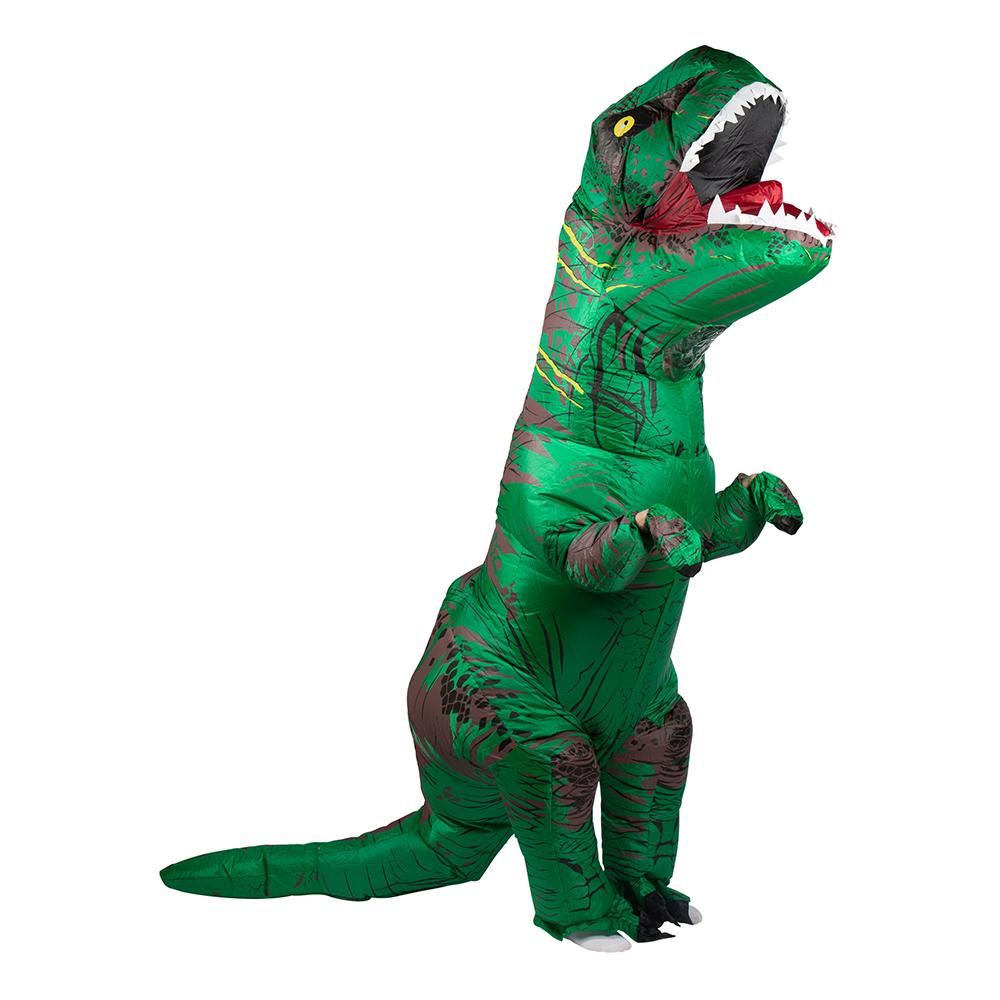 Uppblåsbar T-Rex Grön Maskeraddräkt - One size