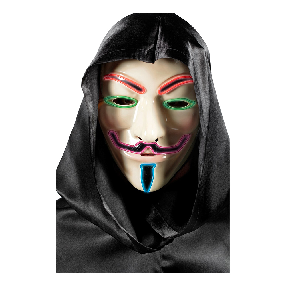 V For Vendetta Mask med LED - One size