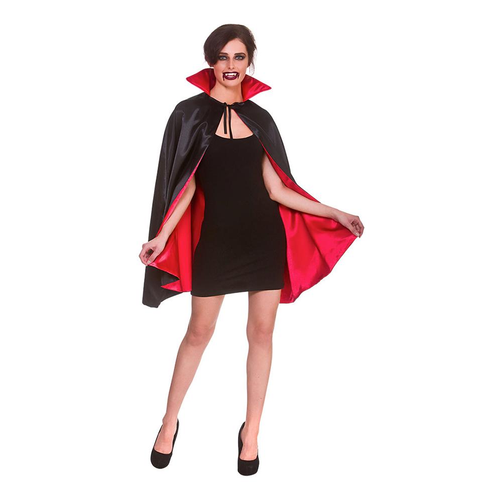 Vampyrcape i Satin Kort Svart/Röd med Ståkrage - One size