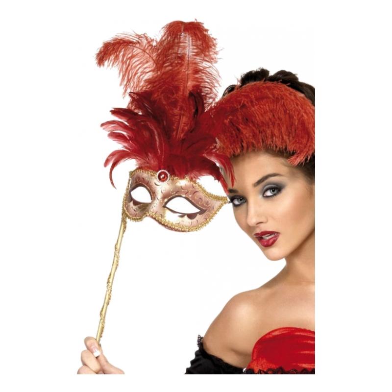Venetiansk Mask med Fjädrar - One size