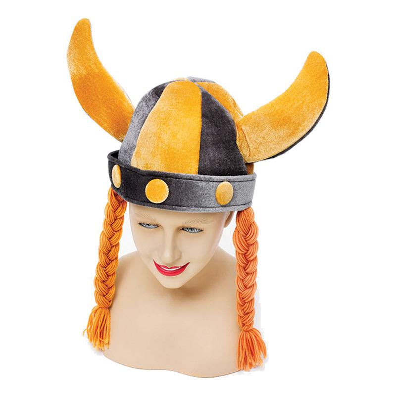 Vikingahjälmmössa med Flätor - One size