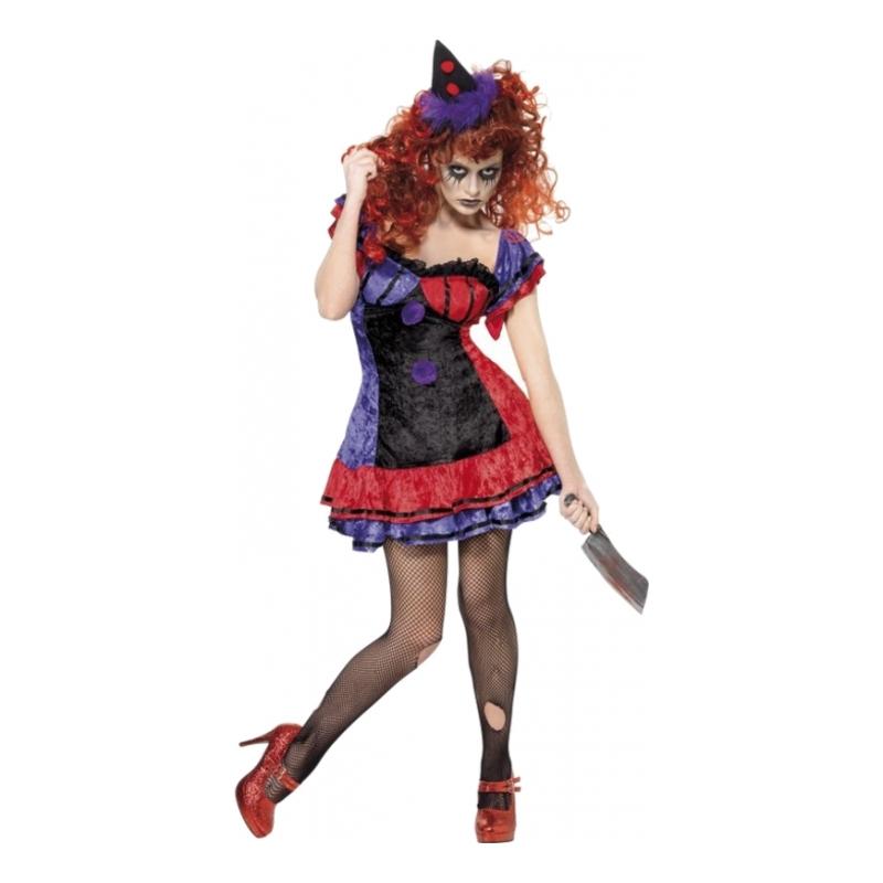 Kvinnlig Elak Clown Maskeraddräkt - Small