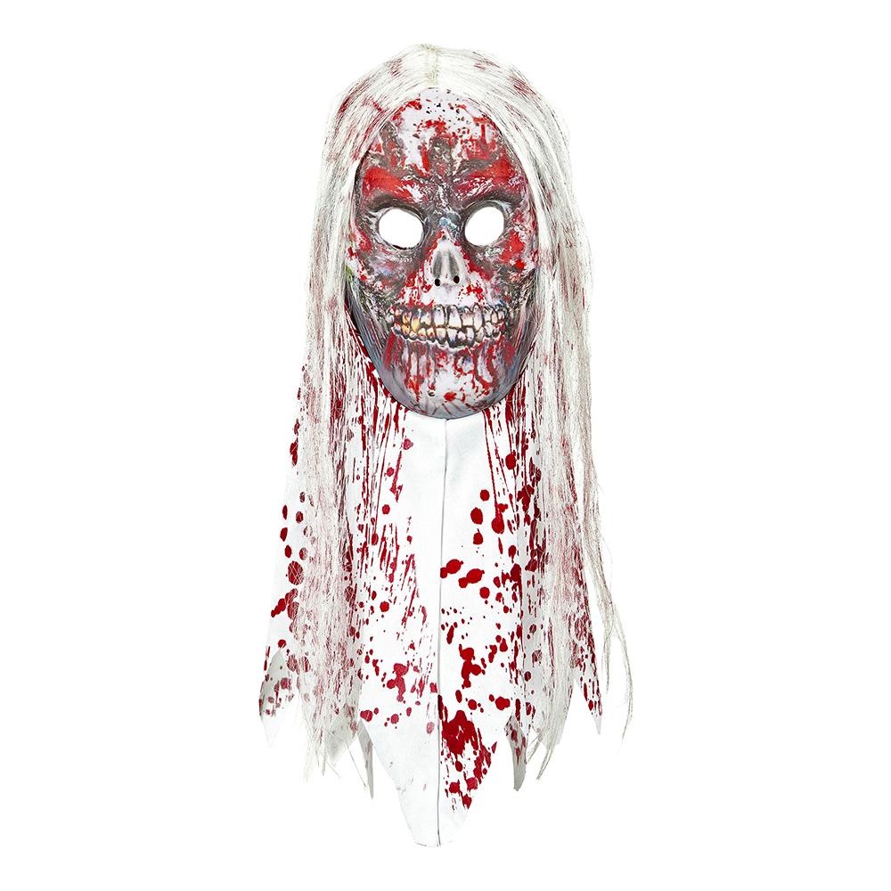 Zombiemask Blodig med Hår & Krage - One size